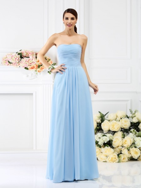 A-Line/Princess Sleeveless Pleats Floor-Length Strapless Chiffon Bridesmaid Dresses