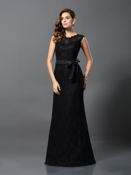 Sheath/Column Sleeveless Lace Floor-Length Scoop Satin Dresses