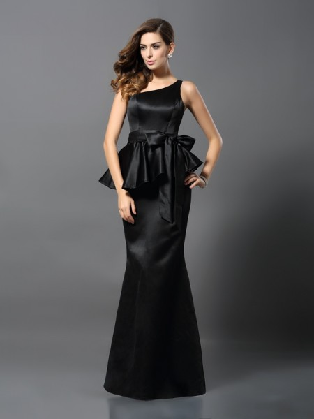 Trumpet/Mermaid Sleeveless Bowknot Floor-Length One-Shoulder Satin Dresses