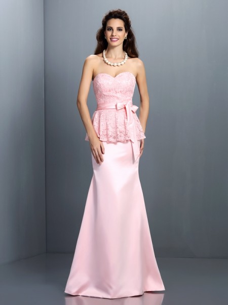 Trumpet/Mermaid Sleeveless Lace Floor-Length Sweetheart Satin Bridesmaid Dresses