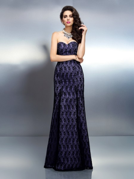 Trumpet/Mermaid Sleeveless Lace Floor-Length Sweetheart Satin Dresses