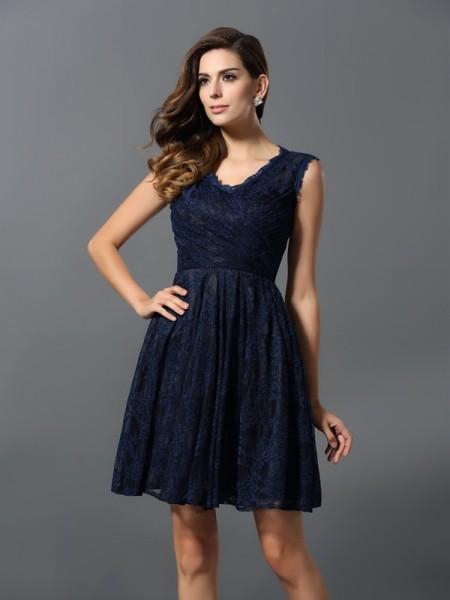 A-Line/Princess Sleeveless Lace Short/Mini V-neck Satin Bridesmaid Dresses