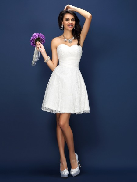 A-Line/Princess Sleeveless Pleats Lace Short/Mini Sweetheart Satin Bridesmaid Dresses