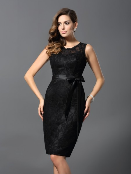 Sheath/Column Sleeveless Lace Knee-Length Jewel Satin Cocktail Dresses