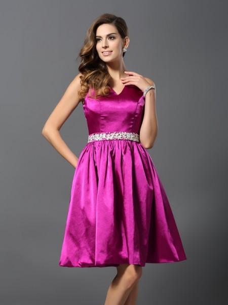 A-Line/Princess Sleeveless Beading Knee-Length Straps Elastic Woven Satin Bridesmaid Dresses