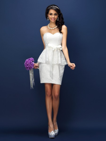 Sheath/Column Sleeveless Lace Bowknot Short/Mini Sweetheart Satin Bridesmaid Dresses