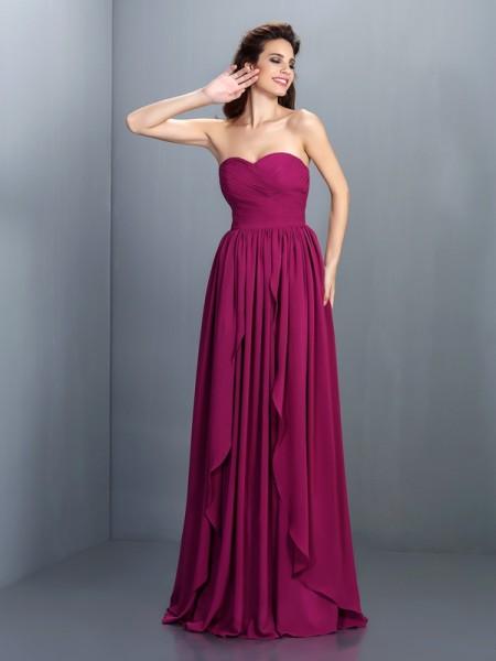 A-Line/Princess Sleeveless Pleats Floor-Length Sweetheart Chiffon Dresses