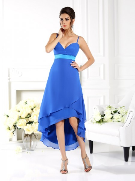 A-Line/Princess Sleeveless Ruffles Asymmetrical Spaghetti Straps Chiffon Bridesmaid Dresses