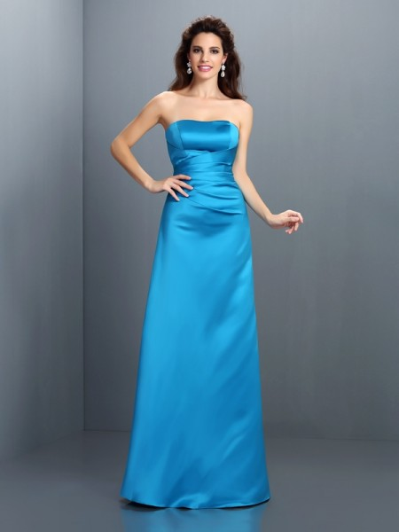 A-Line/Princess Sleeveless Floor-Length Strapless Satin Bridesmaid Dresses