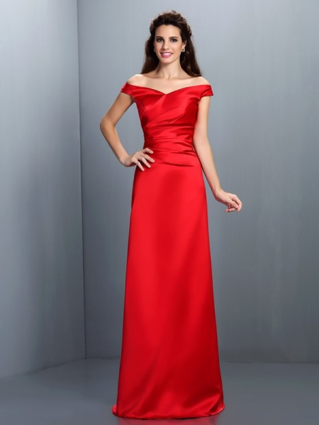 Sheath/Column Sleeveless Floor-Length Off-the-Shoulder Chiffon Bridesmaid Dresses