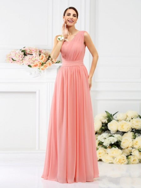A-Line/Princess Sleeveless Pleats Floor-Length One-Shoulder Chiffon Bridesmaid Dresses