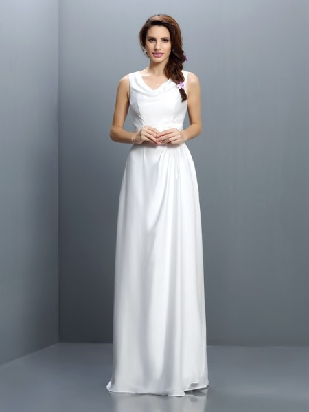 Sheath/Column Sleeveless Floor-Length V-neck Chiffon Bridesmaid Dresses