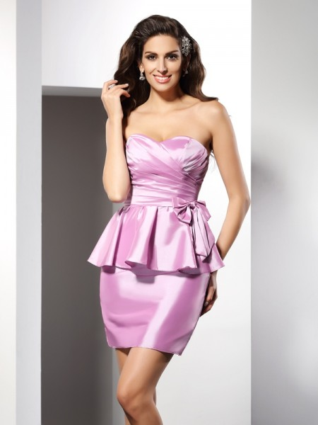 Sheath/Column Sleeveless Bowknot Short/Mini Sweetheart Taffeta Cocktail Dresses