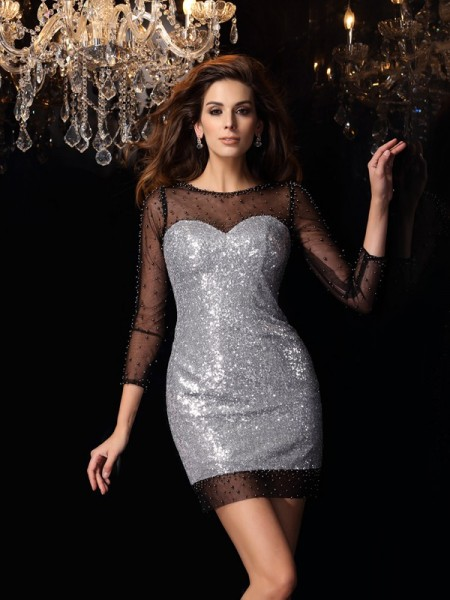 Sheath/Column 3/4 Sleeves Beading Short/Mini Scoop Sequins Cocktail Dresses