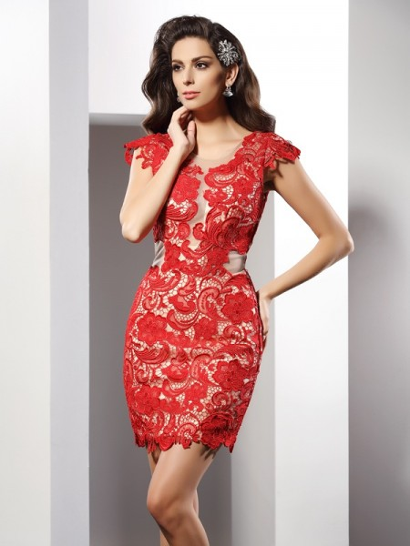 Sheath/Column Sleeveless Lace Short/Mini Scoop Elastic Woven Satin Cocktail Dresses