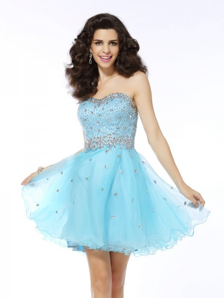 A-Line/Princess Sleeveless Ruffles Short/Mini Sweetheart Organza Cocktail Dresses