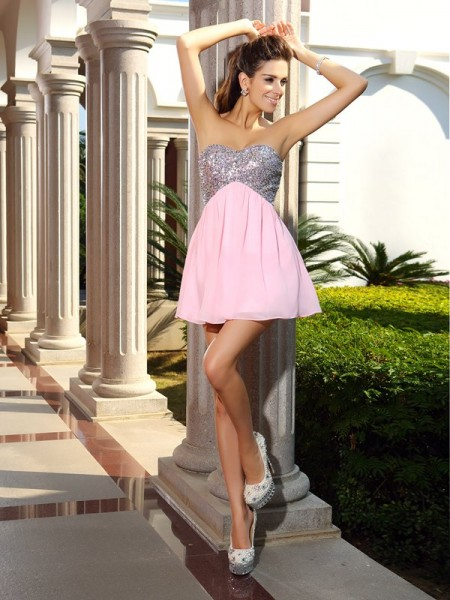 A-Line/Princess Sleeveless Sequin Short/Mini Sweetheart Chiffon Cocktail Dresses