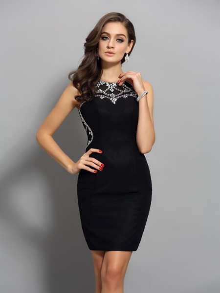 Sheath/Column Sleeveless Beading Short/Mini Scoop Chiffon Cocktail Dresses