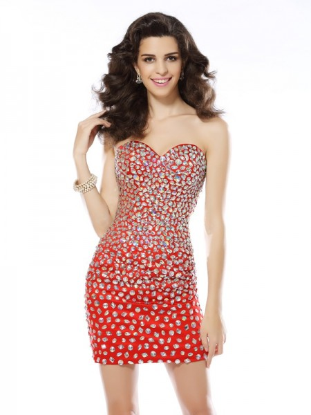 Sheath/Column Sleeveless Rhinestone Short/Mini Sweetheart Chiffon Cocktail Dresses