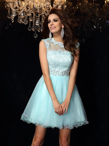 A-Line/Princess Sleeveless Short/Mini High Neck Elastic Woven Satin Dresses