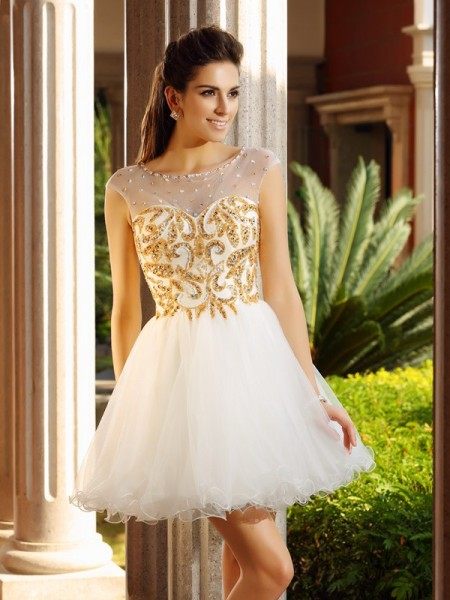 A-Line/Princess Sleeveless Ruffles Short/Mini Scoop Net Cocktail Dresses