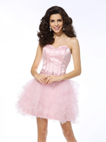 A-Line/Princess Sleeveless Ruffles Short/Mini Sweetheart Net Cocktail Dresses