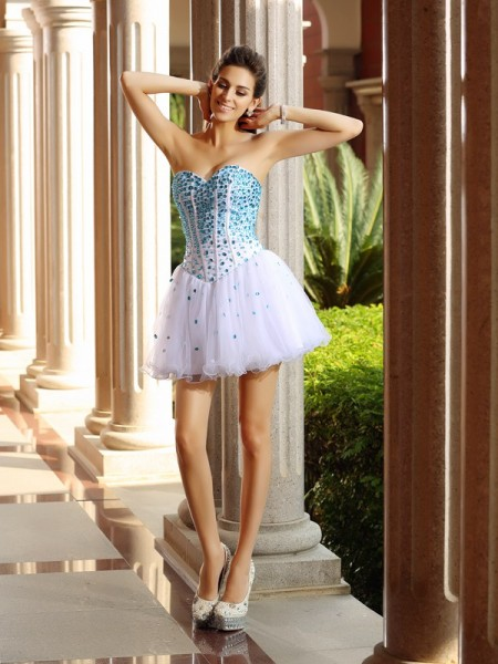 A-Line/Princess Sleeveless Ruffles Short/Mini Sweetheart Tulle Cocktail Dresses