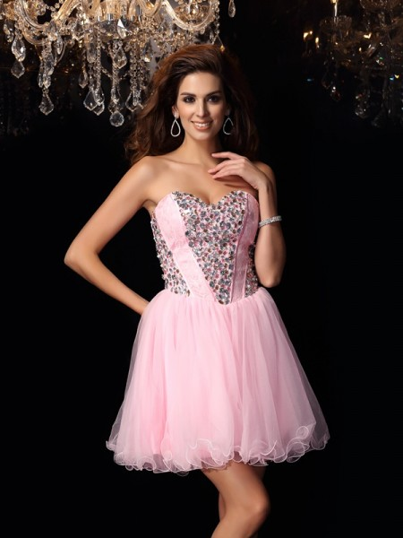 A-Line/Princess Sleeveless Ruffles Short/Mini Sweetheart Elastic Woven Satin Cocktail Dresses