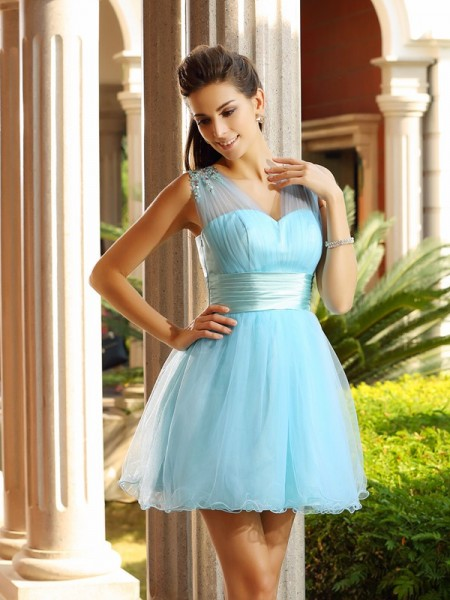 A-Line/Princess Sleeveless Pleats Beading Short/Mini V-neck Net Cocktail Dresses