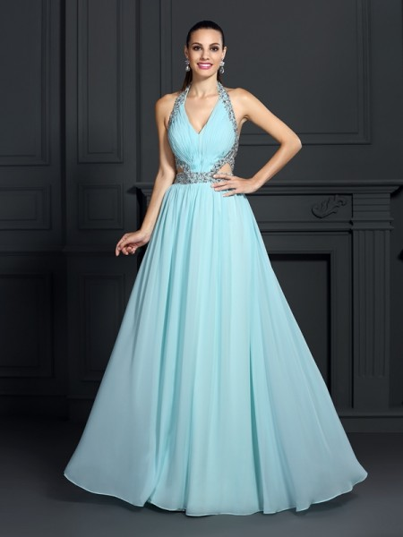 A-Line/Princess Sleeveless Beading Floor-Length Halter Chiffon Dresses