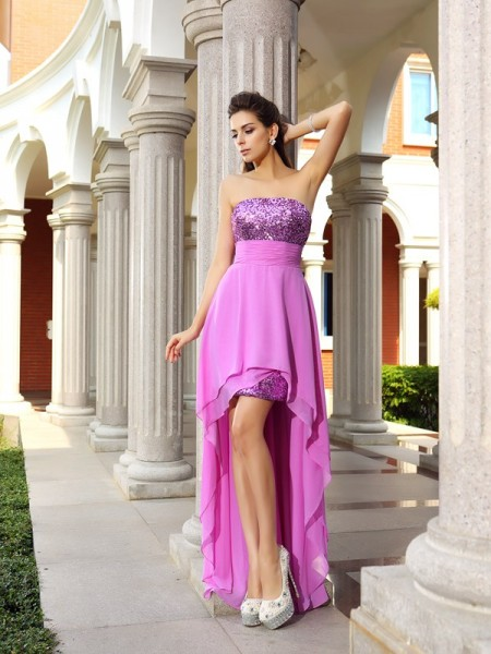A-Line/Princess Sleeveless Beading Asymmetrical Strapless Chiffon Cocktail Dresses