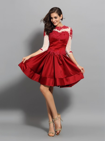 A-Line/Princess 1/2 Sleeves Applique Short/Mini High Neck Satin Cocktail Dresses