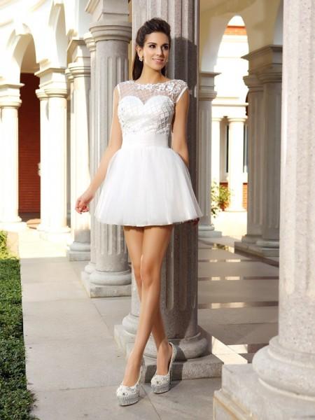 A-Line/Princess Sleeveless Beading Short/Mini Scoop Satin Cocktail Dresses