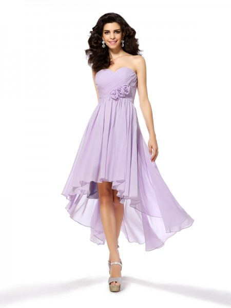 A-Line/Princess Sleeveless Hand-Made Flower Asymmetrical Sweetheart Chiffon Cocktail Dresses