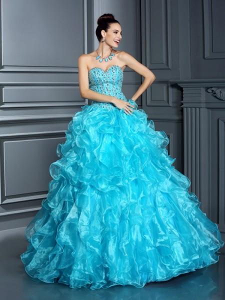 Ball Gown Sleeveless Beading Floor-Length Sweetheart Organza Dresses
