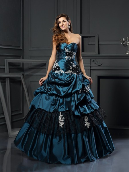 Ball Gown Sleeveless Beading Applique Floor-Length Sweetheart Taffeta Dresses