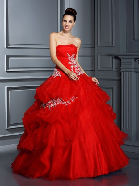 Ball Gown Sleeveless Applique Floor-Length Strapless Organza Dresses