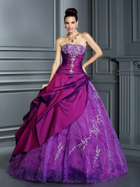 Ball Gown Sleeveless Applique Floor-Length Strapless Taffeta Dresses