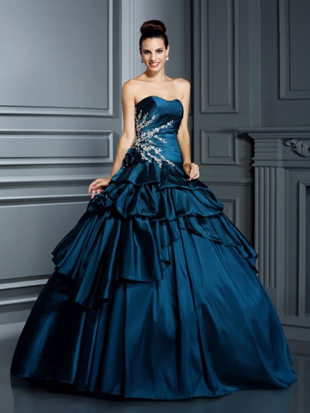 Ball Gown Sleeveless Beading Floor-Length Strapless Taffeta Dresses
