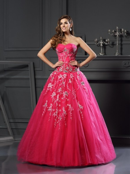 Ball Gown Sleeveless Applique Floor-Length Sweetheart Net Dresses