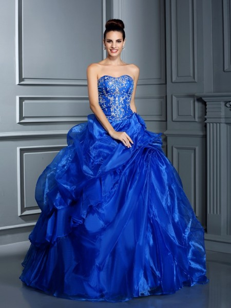Ball Gown Sleeveless Applique Floor-Length Sweetheart Satin Dresses