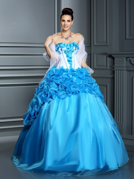 Ball Gown Sleeveless Ruffles Floor-Length Sweetheart Satin Dresses