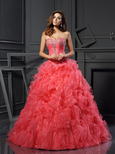 Ball Gown Sleeveless Ruffles Floor-Length Sweetheart Organza Dresses
