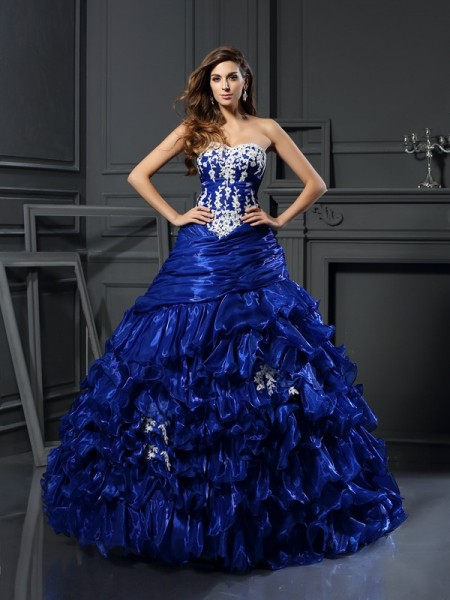 Ball Gown Sleeveless Beading Applique Floor-Length Sweetheart Tulle Dresses