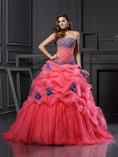 Ball Gown Sleeveless Beading Chapel Train Sweetheart Organza Dresses