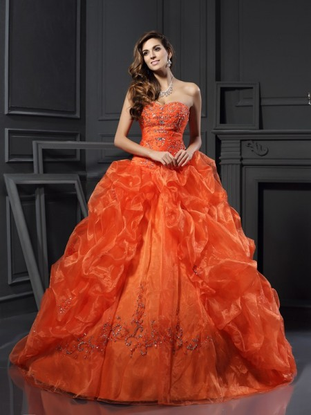 Ball Gown Sleeveless Beading Applique Court Train Sweetheart Organza Dresses