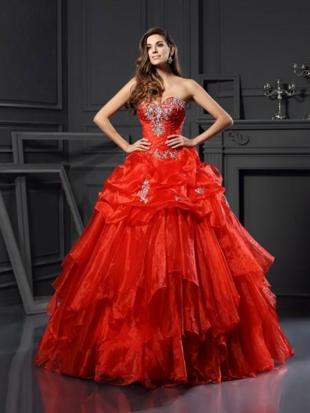 Ball Gown Sleeveless Beading Floor-Length Sweetheart Tulle Dresses