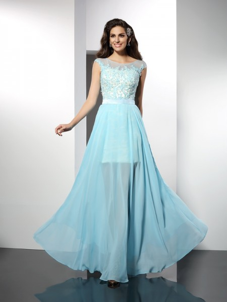A-Line/Princess Sleeveless Applique Floor-Length Bateau Chiffon Cocktail Dresses