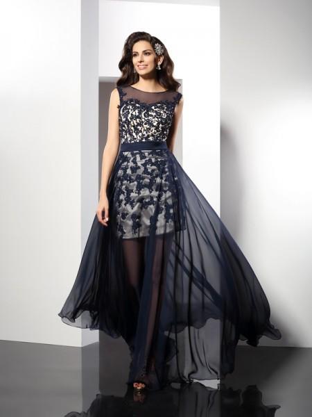 A-Line/Princess Sleeveless Floor-Length Scoop Elastic Woven Satin Dresses
