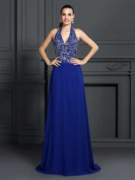 A-Line/Princess Sleeveless Applique Sweep/Brush Train Halter Chiffon Dresses